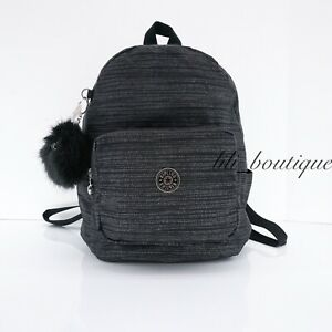 NWT Kipling KI1254 Malcom Small Backpack Shoulder Bag Nylon Zipper Crosing Black