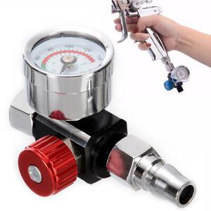 1/4 Mini Air Regulator Valve Tool Tail Pressure Gauge w/ Nozzle For Spray Gun uk
