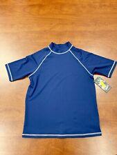 Boys Blue Size 14 To 16 Short Sleeve Heather UV 50+ Rashguard Sz. 14/16