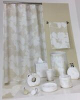 """Brand New Echo Home Graphic Flowers Fabric Shower curtain Natural 70"""" x 72"""""""