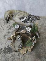 1979 Homco Masterpiece Porcelain Mocking bird with baby bird on Log figurine