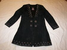 Women's Renegade Spirit Black Suede Embellished Coat - Size M