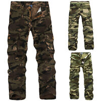 Men's Hunting Camo Combat Work Cargo Pants Casual Military Army jungle Trousers