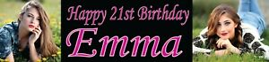 2x Personalised black Photo banners Christening birthday party kids