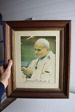 "+ Older Framed Picture ""Pope John Paul II"" + 18"" x 15"" + (CA446) + chalice co."