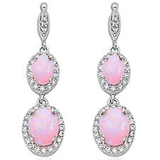 Dangle Lab Created Pink Opal .925 Sterling Silver Earrings