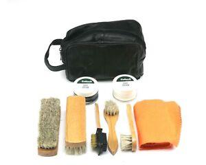 Flight-safe polish Quality Eco Shoe Cleaning Kit in Leather Bag UK
