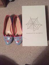 Charlotte Olympia Kitty Flats Blue 38.5 Shoes Uk 5.5