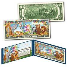 HAPPY BIRTHDAY Zoo Animals Youth Colorized Genuine Legal Tender U.S. $2 Bill