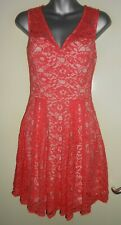 Oasis coral & nude lined sweetheart lined lace skater style dress size 8