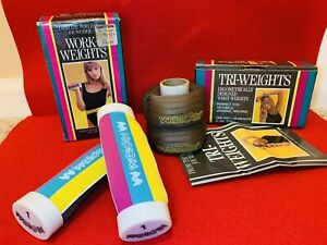 Vintage Joe Weider's Work-Weights AND Tri-Weights (each pair 2lbs)- RARE COLORS!