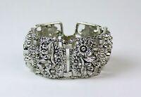 Vintage Sarah Coventry Antique Garden Silver Tone Panel Bracelet 1963