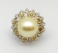 Golden South Sea Pearl & Champagne Diamond Cocktail Ring in 18K Gold - HM1472S2