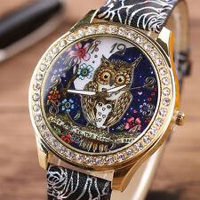 Mode Frauen Quarz Edelstahl Leder Kristall Diamanten Eule Armbanduhr UK