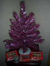 Nice Htf 2 Ft Vtg Aluminum Tinsel Pink Silver Tree Garland Glass Ornaments Decor