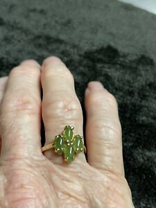gold over sterling silver jade ring. Size 7.5