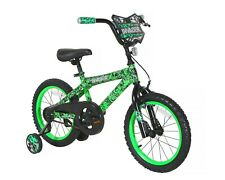 """16"""" Kids Bicycle for Boys Girls with Training Wheels Coaster Hand Brake Green"""