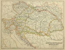 1874 Antik Landkarte Austro-Hungarian Monarchy Kroatien Bohème Mähren