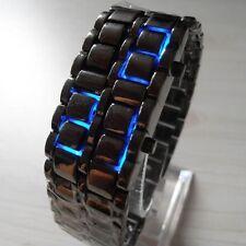 NEW Men's Ninja Black Digital Watch Bracelet Lava Blue LED Futuristic SciFi Cool
