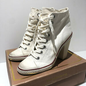 Ash white converse white heeled sneakers ankle boots 41 7.5 8 VGC trainers Spot