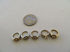 Five Miniature 10K Yellow Gold Rings Charms For Chain or Bracelet SR