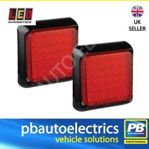 2x LED Autolamps Rear Red LED Light Lamp 100mm Square Stop & Tail Function 80RME