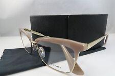 Prada VPR 08S UEC-1O1 Champagne/Gold New Authentic Eyeglasses 53mm w/Case