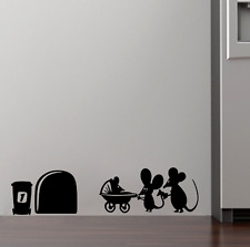 Family Baby Mouse Hole Wall Stickers For Kids Rooms Decals Vinyl Wall Art US