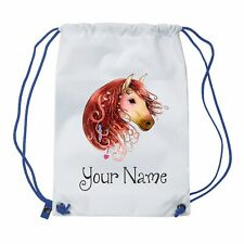 Personalised Cute horse Gym Bag , PE, Sports, Swimming , School, Dance,Girls