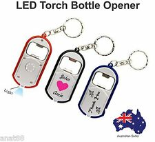 100 Custom PRINTED personalised Wedding Bombonier Torch KEY RINGS Bottle Opener