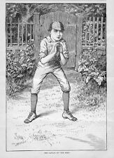 CRICKET 1884, THE CAPTAIN OF OUR NINE, YOUNG BOY READY TO PLAY CRICKET, SPORTS