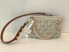 Michael Kors Fanny Pack Belt Bag MK Logo White/Gold Faux Leather Bag SZ M