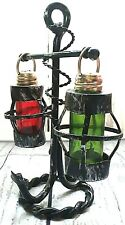 Vintage Metal Anchor Stand Green and Red Glass Lantern Salt Pepper Shakers
