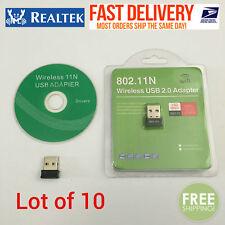 Lot of 10 RealTEK Mini USB 150Mbps Wireless 802.11N WiFi Adapter Nano W/Pack #20