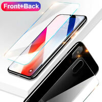 2x 9H Front + Back Tempered Glass Film Screen Protector for iPhone XS Max/XR HOT