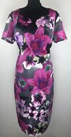 PER UNA Size UK 18 Purple Floral Print Cotton Blend Shift Dress BNWT