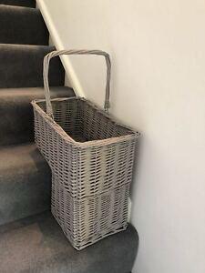 Gorgeous Grey Wicker Stair Basket Organizer Rustic Rattan Key Holder Handle Shoe