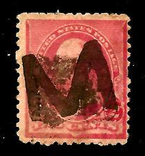 """US 1800s Various Town POs' Fancy Cancel = Carved """"M"""" ~ Salkind #LE-M-12 [1890s]"""