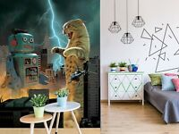 3D Robot And Cat R18 Wallpaper Mural Sefl-adhesive Removable Vincent Zoe