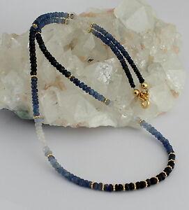 Saphir Kette edelsteinkette Fecettierte Saphirkette blau weiße saphire ca.45 cm.