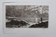 Alfred TAIEE Coucher de Soleil sur la mer Eau-forte originale 19e s. Cadart éd.