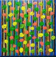 Original abstract painting 3D modern floral oil pastel acrylic 12X12 canvas.