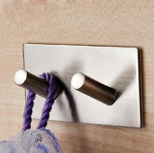 Kitchen Bath Brushed Nickel Coat Robe Hat Clothes Towel Hook Wall Hanger Rack