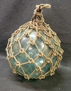 """Antique Japanese Hand Crafted Blown Green Glass Nautical 12"""" Floating Buoy W/Net"""