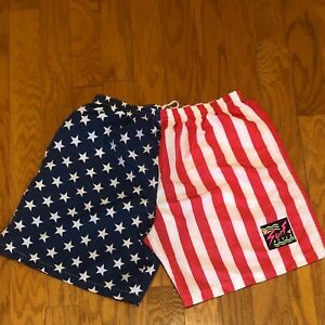 Mint Condition Vintage 90's Surf Style American Flag Swim Trunks Sz XL