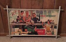 Vintage Coca Cola Advertising Cardboard Sign Litho '40's 50's Double Sided Sport