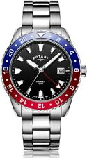 Rotary Gents Analogue Quartz Watch with Black Dial and Stainless Steel Bracel