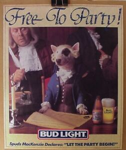 SPUDS MACKENZIE RARE 1987 FREE TO PARTY POSTER