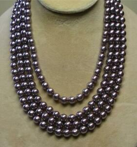 "JOAN RIVERS GOLD EP HAND KNOTTED 8mm DK MAUVE CZECH GLASS PEARL 75"" NECKLACE NOS"