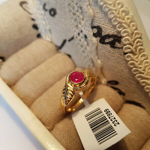 Beautiful Ruby solitaire ring in 14k gold over Sterling silver 'N'